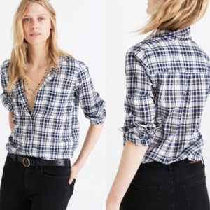 Madewell L Slim Ex-Boyfriend Plaid Shirt 0023